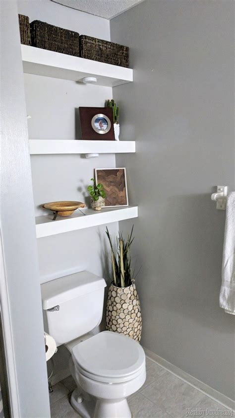 shelves above toilet how to build diy floating shelves reality day Floating