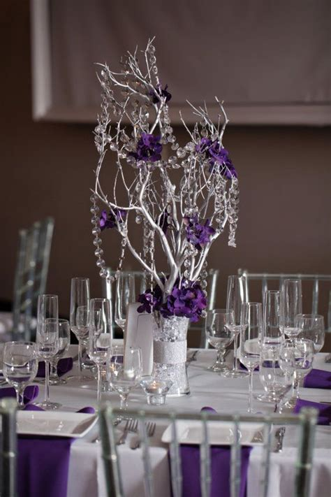 crystal manzanita silver branch tree centerpieces