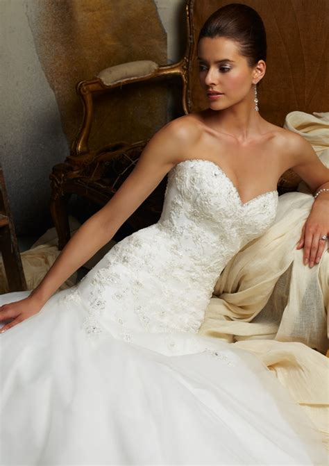 embroidered  beaded lace  net morilee bridal wedding