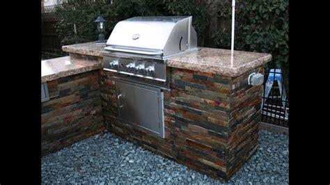 bbq island  custom granite countertop tile sides