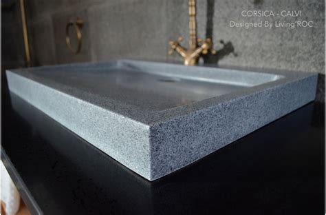 "27"" Gray Granite Stone Trough Bathroom Sink   CORSICA"