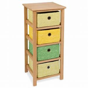 Petit Meuble à Tiroirs : petit meuble 4 tiroirs en bois jaune vert h 71 cm jungle maisons du monde ~ Teatrodelosmanantiales.com Idées de Décoration