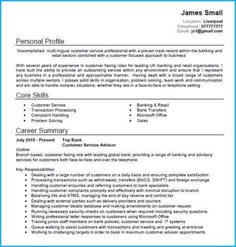 customer service cv exle with writing guide and cv template