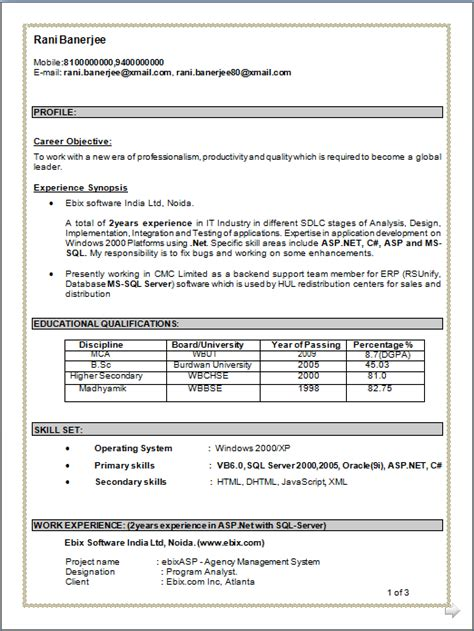 One Year Experience Resume Format For Developer by Professional Resume Resume Of Mca 2 Years Of Experience In It Industries In Different
