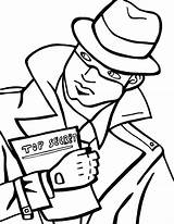 Spy Coloring Pages Secret Detective Holding Spies  Drawing Colouring Agents Template Fresh Totally Printable Beat Band Decode Puzzle Netart sketch template