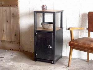 Petit Meuble Metal : petit meuble d 39 entr e bois m tal au design industriel meuble de style industriel bois et acier ~ Teatrodelosmanantiales.com Idées de Décoration