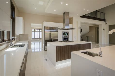 Open Plan Kitchen With Two Islands And Prep Area
