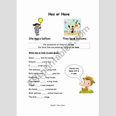 Using Has Or Have  Esl Worksheet By Lindseybristow4