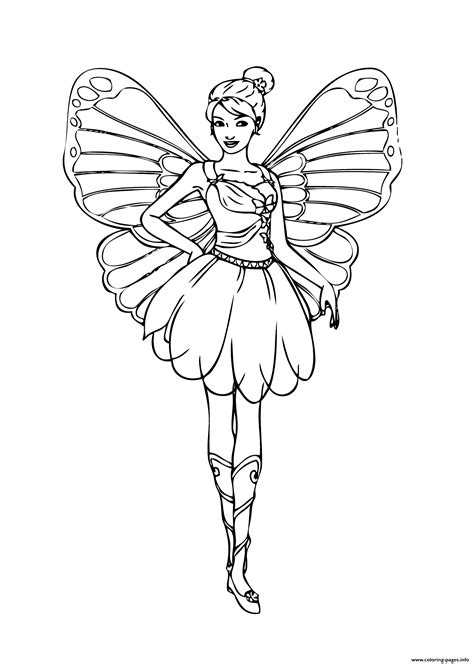barbie fairy coloring pages printable