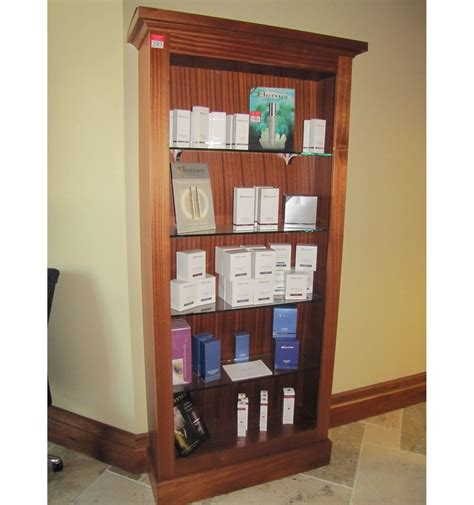 wooden bookcase  glass shelves