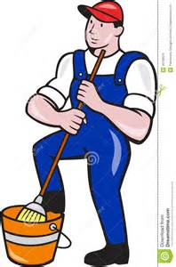 Janitors Mop Bucket Cartoon