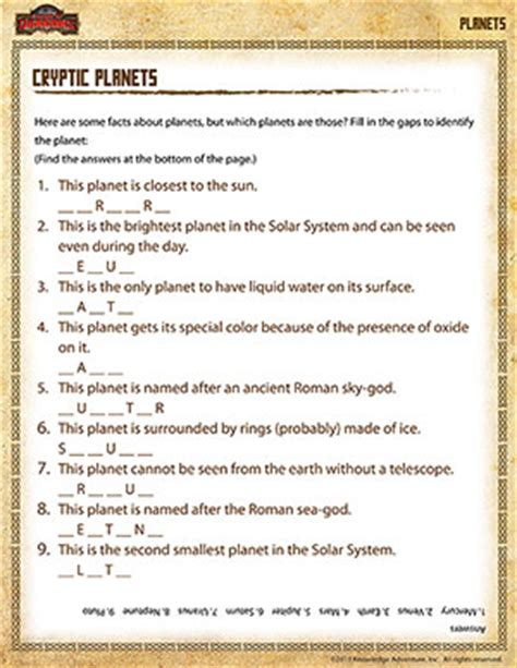 cryptic planets 5th grade science printables