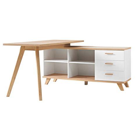 bureau 80 cm longueur bureau d 39 angle en bois avec 4 niches 3 tiroirs longueur