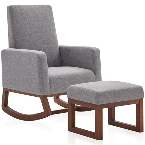 Contemporary design for living room, bedroom and. BELLEZE Modern Rocking Chair Upholstered Fabric High Back ...