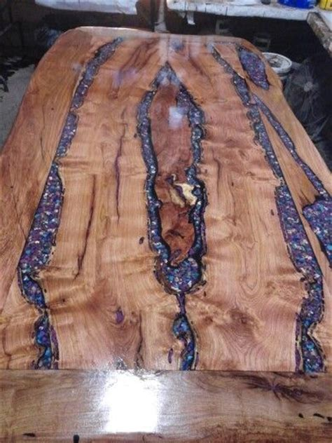 mesquite dining room table inlaid  purple mohave