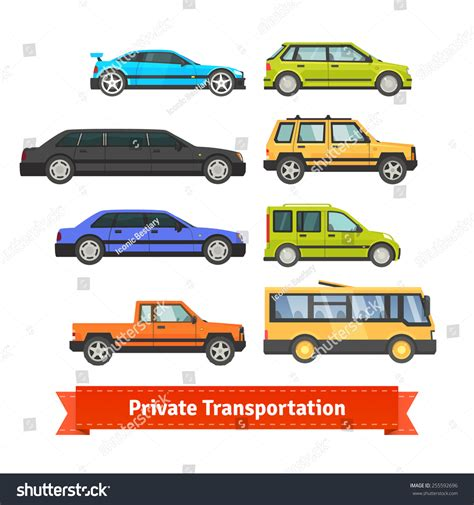 Private Transportation. Set Of Various Cars And Vehicles