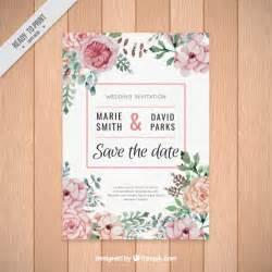beautiful wedding announcements beautiful wedding invitation of watercolor flowers vector free