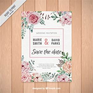 beautiful wedding invitation of watercolor flowers vector With beautiful wedding invitation watercolor flowers