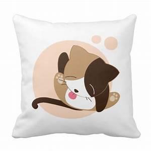 Cute Chibi Kitty Cat 2 Pillow | Zazzle