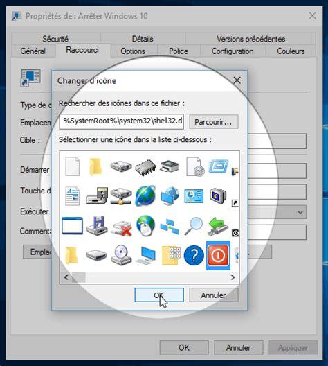 creer icone bureau windows 10 créer un raccourci pour arrêter ou émarrer