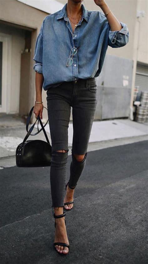 schwarze hose kombinieren damen jeanshemd fr 252 hling leichtes schwarze hose latenightinparis in 2019