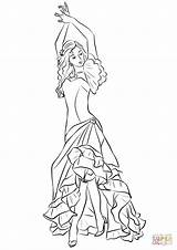 Flamenco Coloring Pages Spain Drawing Printable Supercoloring sketch template
