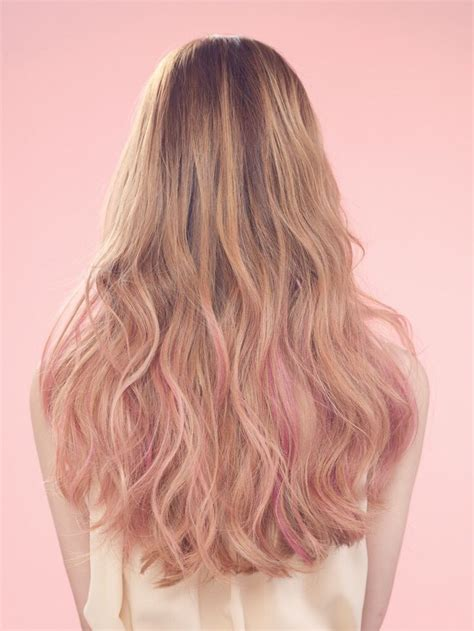 Blonde Highlights With A Hint Of Pink Pink Dip Dye Pink