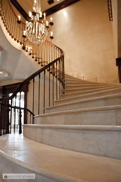 crema marfil marble stairs mediterranean staircase