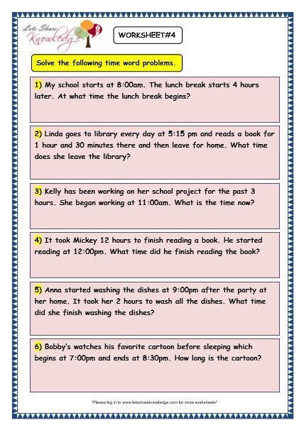 grade  maths worksheets  time problems  images