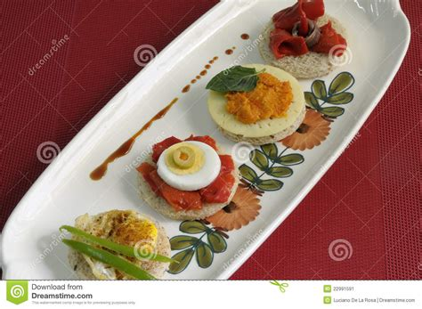 pate canapes canapes with eggs peppers and pate stock image image