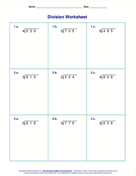 long division worksheets  grades