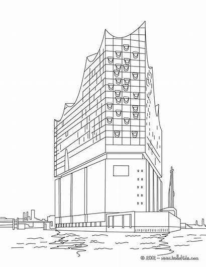 Elbphilharmonie Famous Coloring Hamburg Buildings Pages Concert