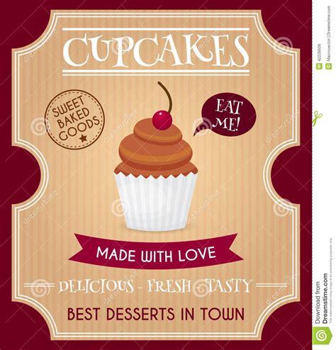 cupcake retro poster stock vector image