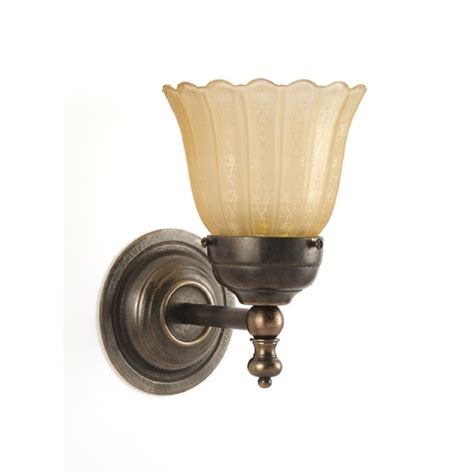 victorian style single wall light aged brass with etched shade