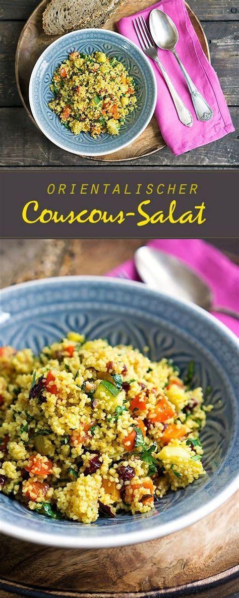 orientalischer couscous salat mit geroestetem gemuese