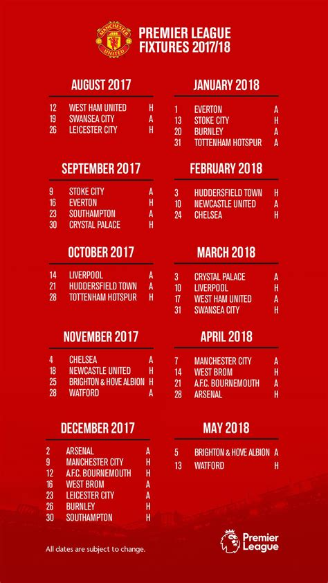 Manchester United Fixtures Wallpaper 2019 20 in 2020 ...