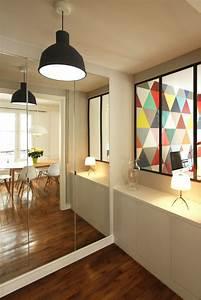 renovation d39un appartement haussmannien par camille hermand With porte d entrée alu avec eclairage salle de bain au dessus miroir