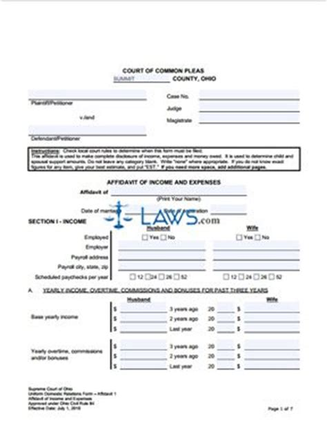 free ohio name change forms form affidavit of income and expenses ohio forms