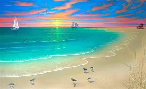 lukisan pemandangan alam gunung laut  pantai indah