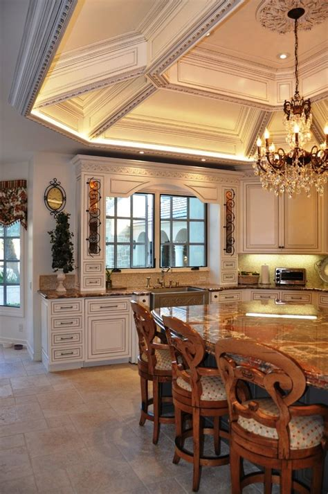 lighted coffered ceiling kitchen traditional  tile