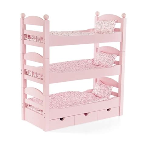 doll furniture stackable pink triple bunk bed