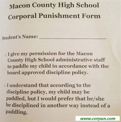 corporal punishment consent form paddling and spanking current school handbooks page 5