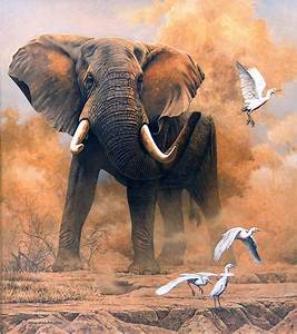 realistic art paintings | Dusty Elephant with Egrets ...