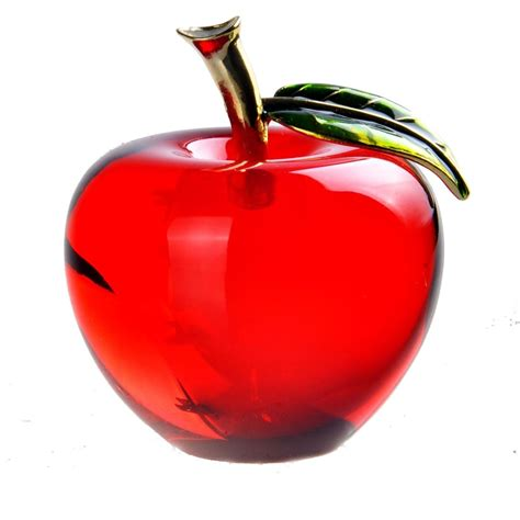hd  red crystal apple paperweight pretty crafts art