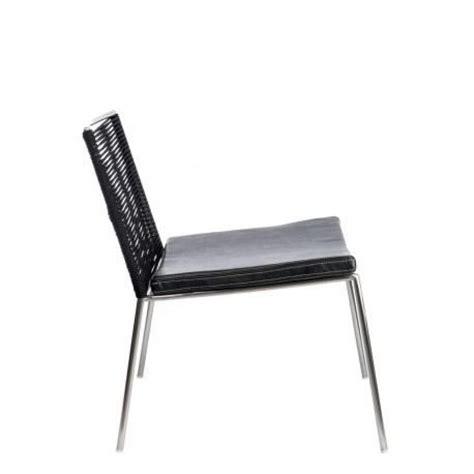 chaise moderne lima en inox et assise cuir noir argent