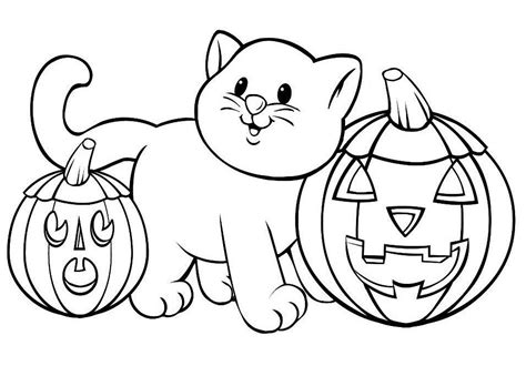 Pumpkin Cat Printable Halloween Coloring Pages