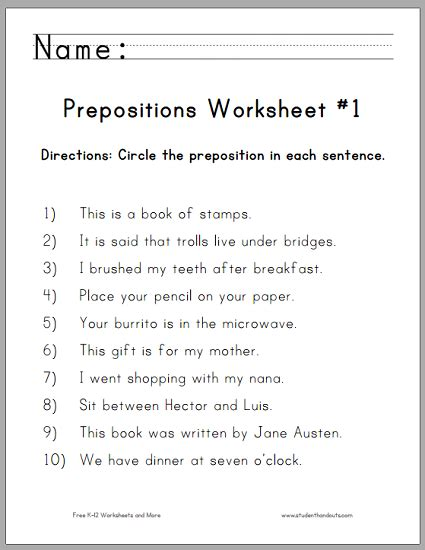 circle the prepositions worksheet 1 student handouts
