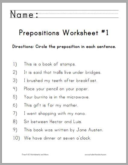 prepositions worksheets grade 4 pdf circle the prepositions worksheet 1 student handouts