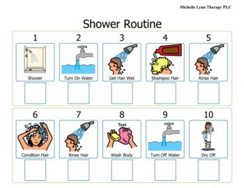 visual schedule for showering shower visual schedule by the smalltown speechie tpt