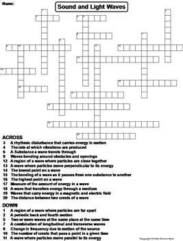 properties of sound and light waves worksheet crossword